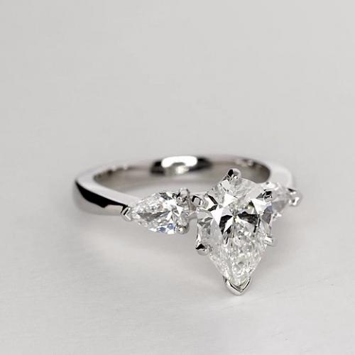 2.00 Ct SI2 F Pear Cut Pear Diamond Three Stone Engagement Ring 18K-White Gold