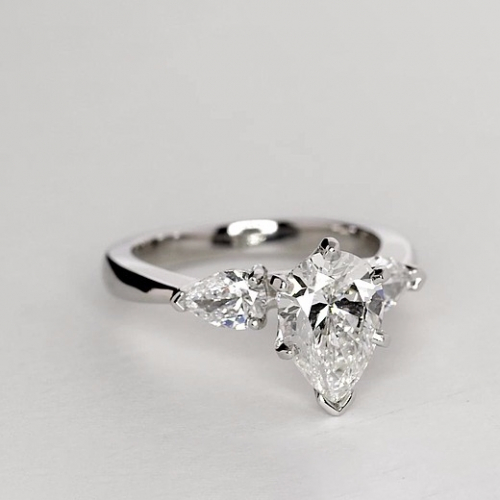 1.50 Ct SI2 F Pear Cut Pear Diamond Three Stone Engagement Ring 18K-White Gold