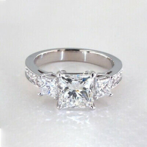 1.40 Ct VS2 H Princess Cut  Diamond Three Stone Engagement Ring