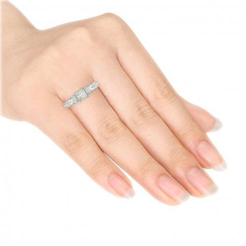 2 Cts VS2 H Princess 3 Stone Diamond Engagement Ring 18K-White Gold