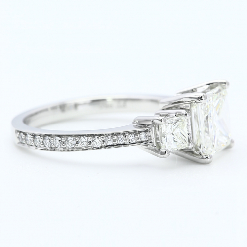 2 Ct Princess Cut Natural Diamond Vintage Style 3 Stone Engagement Ring Platinum