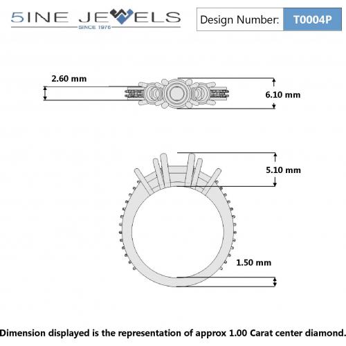 2 Ct Princess Cut Natural Diamond Vintage Style 3 Stone Engagement Ring Platinum