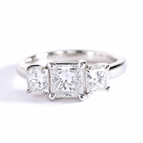 1.3 Cts VS2 F Princess Cut Simple 3 Stone Diamond Engagement Ring 18K-White Gold