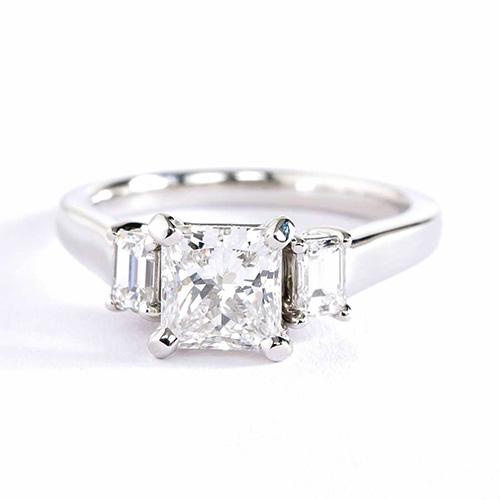 1.15 Cts Princess Broad Shank 3 Stone Diamond Engagement Ring 18K-White Gold