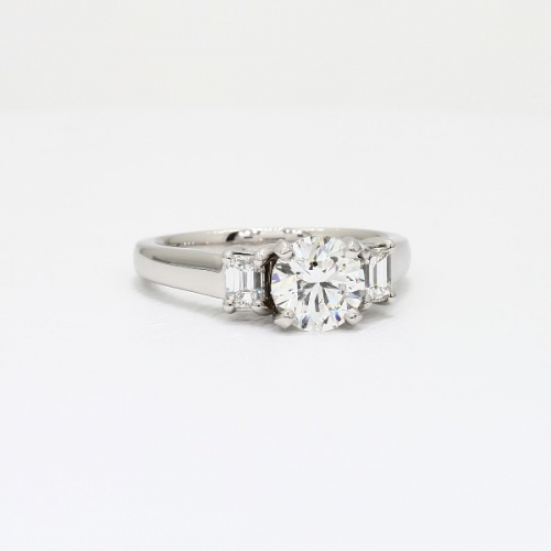 GIA Certified 1.15 Cts Round Cut 3 Stone Diamond Engagement Ring 18K-White Gold