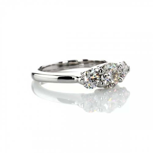 GIA 1.3 Cts SI2 F Round Cross Prongs 3 Stone Diamond Engagement Ring in Platinum