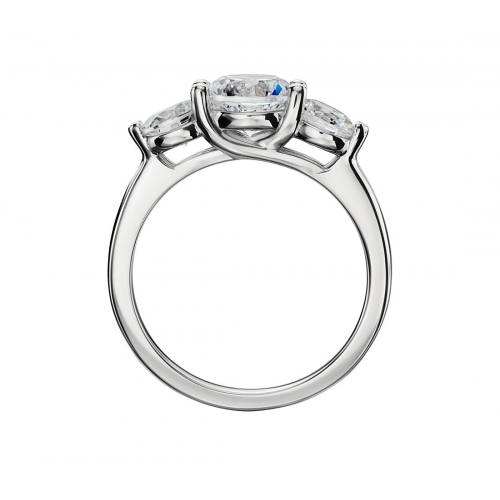 1.3 Cts SI2 F Round Cut Cross Prongs 3 Stone Diamond Engagement Ring in Platinum