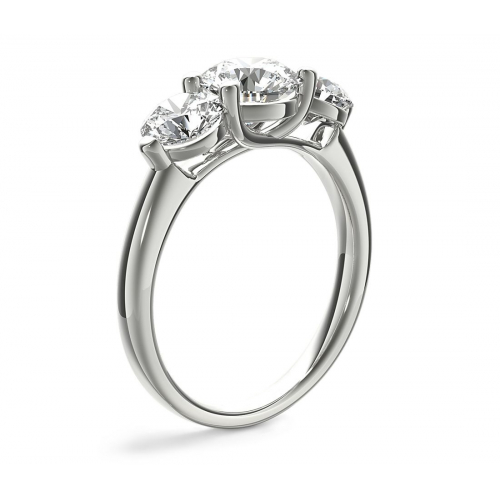 1.5 Cts SI2 F Round Cross Prongs 3 Stone Diamond Engagement Ring 18K-White Gold