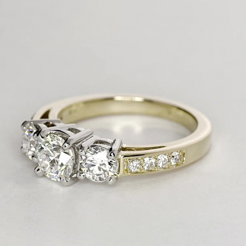 GIA Certified 1.10 Cts Round 3 Stone Diamond Engagement Ring 18K-Yellow Gold