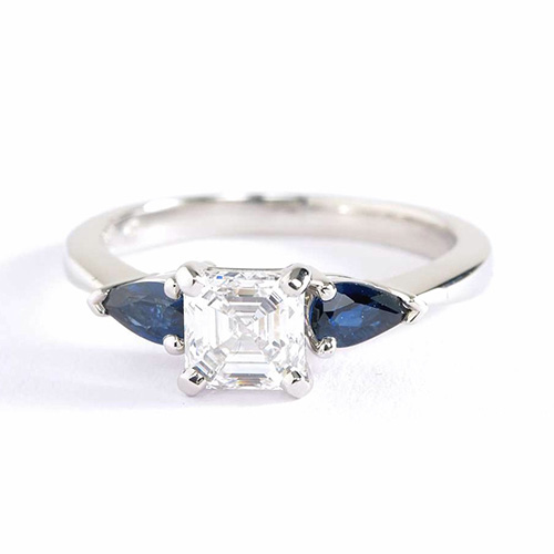 GIA Certified 1.1 Cts VS2 F Asscher Cut Diamond Engagement Ring 18K-White Gold