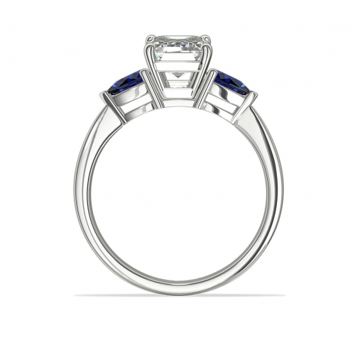 1.6 Cts SI1 D Emerald & Blue Sapphire Diamond Engagement Ring 18K-White Gold