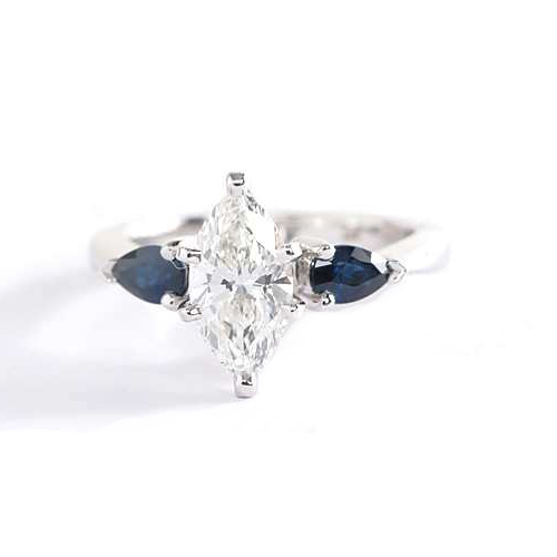 1.3 Cts SI2 F Marquise Blue Sapphire 3 Stone Diamond Engagement Ring Platinum