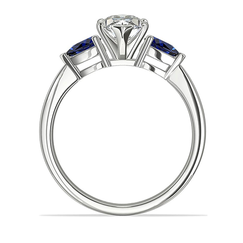 1.3 Cts SI2 F Marquise Blue Sapphire 3 Stone Diamond Engagement Ring Platinum