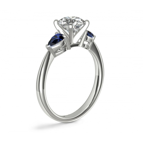 GIA Certified 1.10 Cts Marquise & Sapphire Diamond Engagement Ring 18K Gold