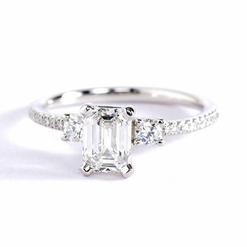 0.9 Cts SI2 F Emerald Cut Petite 3 Stone Diamond Engagement Ring 18K-White Gold