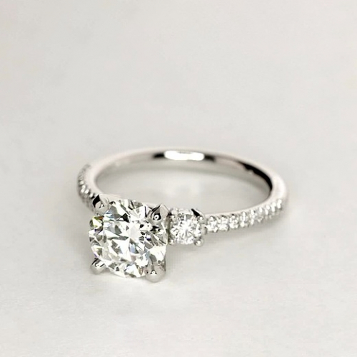 1.3 Cts SI2 F Round Cut Petite 3 Stone Diamond Engagement Ring in 18K-White Gold