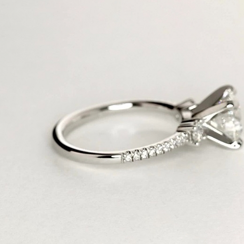 GIA 1.3 Cts SI2 F Round Petite 3 Stone Diamond Engagement Ring in 18K-White Gold