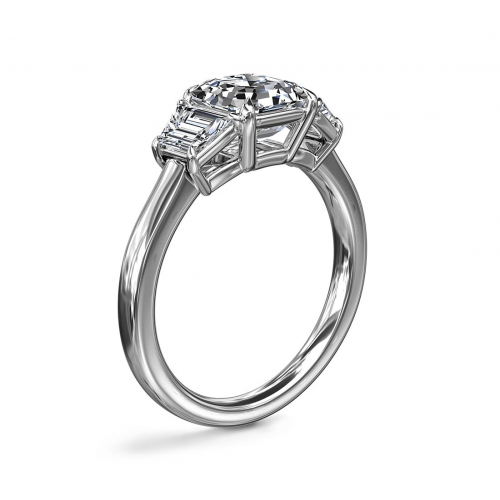 1.6Cts SI2 F Emerald Contemporary 3 Stone Diamond Engagement Ring 18K-White Gold