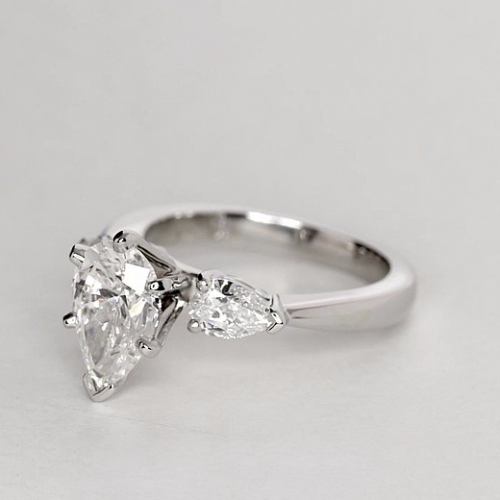 2 Cts SI2 D Pear Cut 3 Stone Diamond Engagement Ring in Platinum