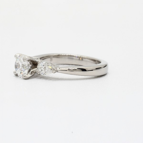 1.4 Cts SI2 D Round Cut & Pear Cut 3 Stone Diamond Engagement Ring in Platinum