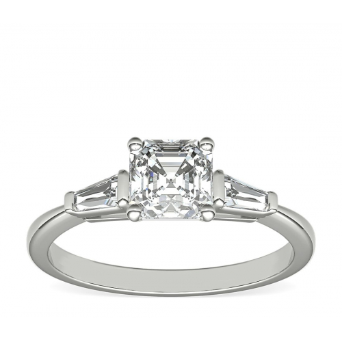 1.2 Cts SI1 F Asscher & Tapered Baguette Diamond Engagement Ring 18K-White Gold