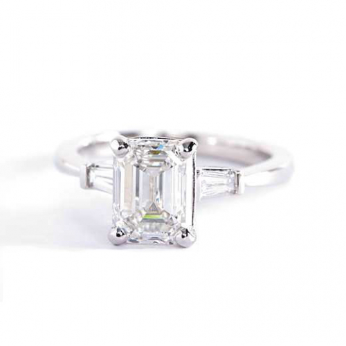 1.2 Cts SI1 F Emerald & Tapered Baguette Diamond Engagement Ring 18K-White Gold