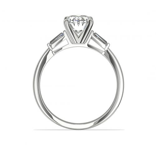 GIA Certified 0.9 Ct Oval & Tapered BaguetteDiamond Engagement Ring 18K Gold