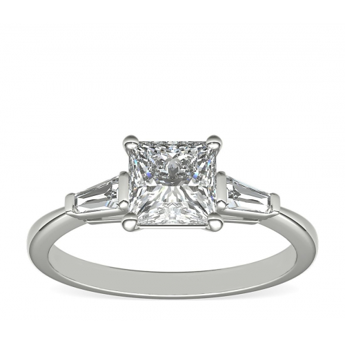 1.2 Cts VS2 D Princess & Tapered Baguette Diamond Engagement Ring 18K-White Gold
