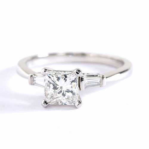 GIA Certified Princess & Tapered Baguette Diamond Engagement Ring Platinum
