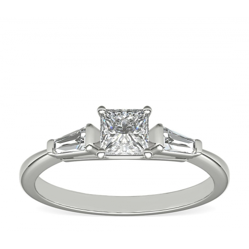 GIA Certified Princess & Tapered Baguette Diamond Engagement Ring Platinum