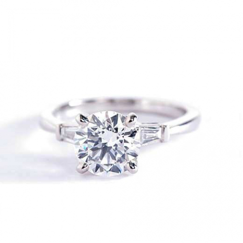1.2 Cts SI2 D Round & Tapered Baguette 3 Stone Diamond Engagement Ring Platinum