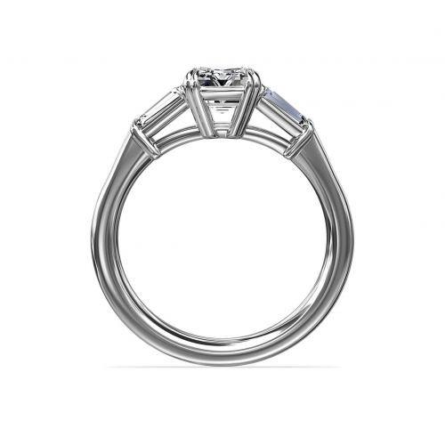 1.4 Cts Emerald & Tapered Baguette Diamond Engagement Ring 18K-White Gold