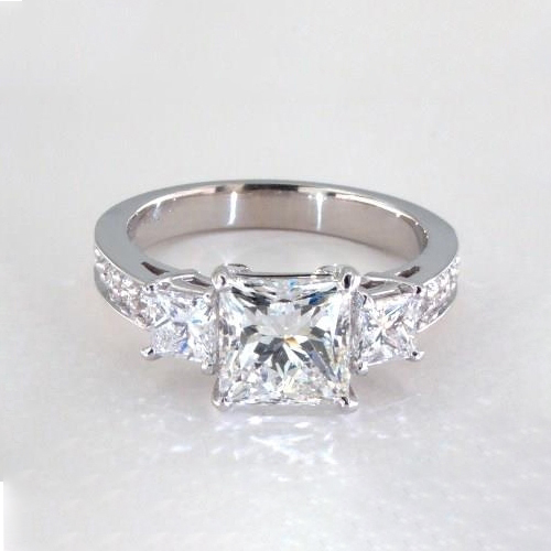 2 Cts SI2 D Princess Cut Vintage 3 Stone Diamond Engagement Ring 18K-White Gold