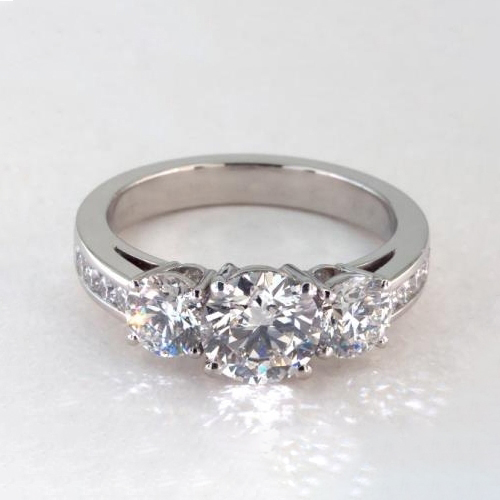 1.75 Cts SI2 F Round Cut Channel 3 Stone Diamond Engagement Ring 18K-White Gold
