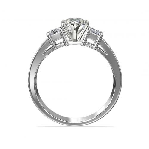 1.45 Cts SI2 F Marquise Vintage 3 Stone Diamond Engagement Ring 18K-White Gold
