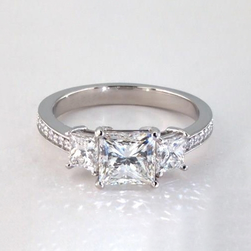 1.75 Cts SI2 F Princess Vintage 3 Stone Diamond Engagement Ring 18K-White Gold