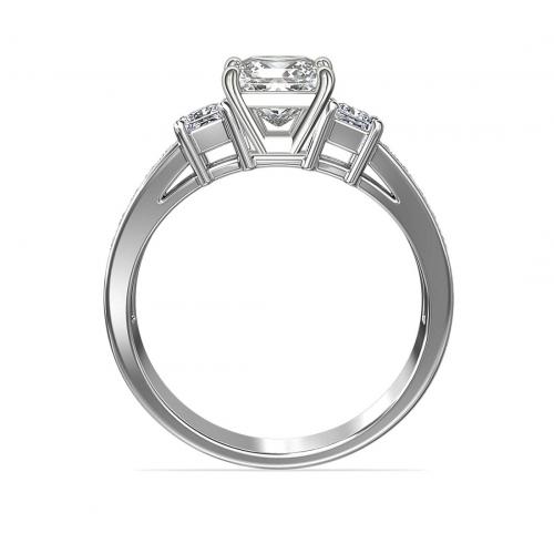 1.75 Cts SI2 F Princess Vintage 3 Stone Diamond Engagement Ring 18K-White Gold
