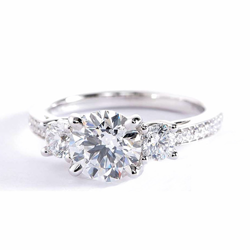 1.75 Cts SI2 D Round Contemporary 3 Stone Diamond Engagement Ring 18K-White Gold