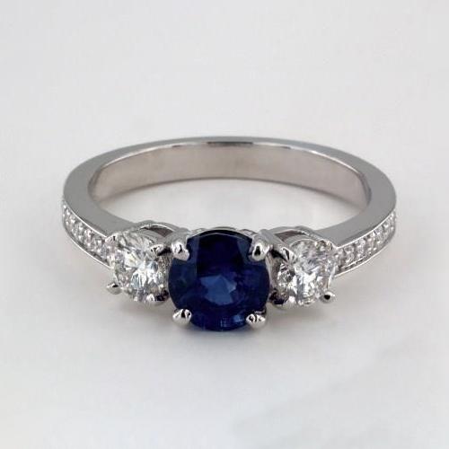 1.45 Cts Translucent Blue Round 3 Stone Diamond Engagement Ring 18K-White Gold