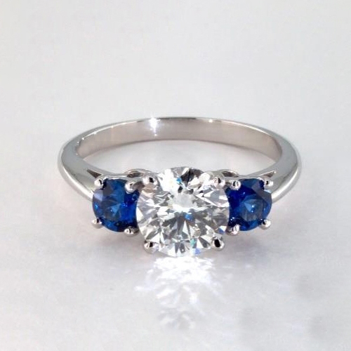 2 Cts SI2 D Round Cut Classic 3 Stone Diamond Engagement Ring in 18K-White Gold