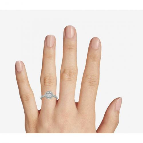 0.90 Ct SI2 G Round Cut Classic Diamond Halo Engagement Ring 18K-White Gold