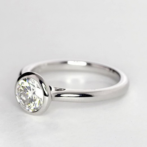 1.50 Cts SI2 H Round Bezel Diamond Solitaire Engagement Ring in 18K-White Gold