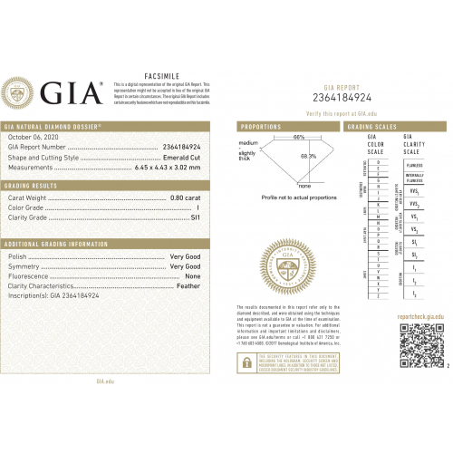 GIA Certified 1.80 Carats SI1 I Five Stone Emerald Cut Diamond Engagement Ring 18K-White Gold