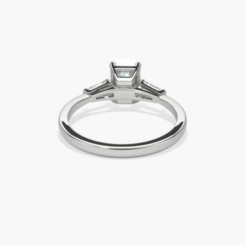 GIA Certified 1.05 Carats SI1 H Classic Emerald Cut Diamond 3 Stone Ring 18K White Gold