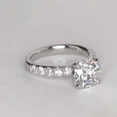 2.25 Carats SI2 F French Round Cut Diamond Engagement Ring 18K White Gold