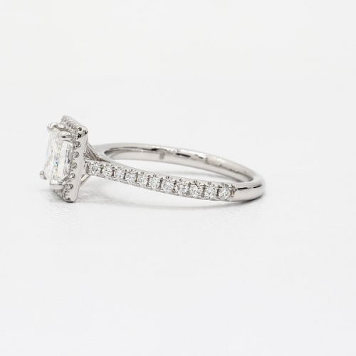 1.30 Cts SI1 F Princess Cut French Pave Halo Diamond Engagement Ring In 18k-White Gold