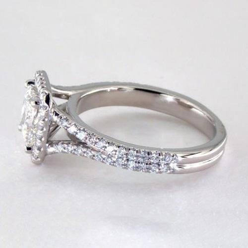 1.70 Ct SI1 F Princess Split Shank Halo Diamond Engagement Ring 18K White Gold