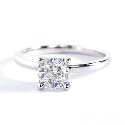 GIA Certified 1 Ct SI2 F Comfort Fit Cushion Cut Solitaire Diamond Engagement Ring in 18k-White Gold