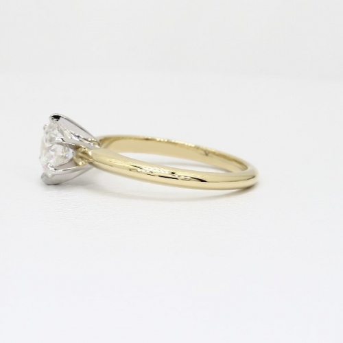 1.50 Cts VS2 H Tapered Round Solitaire Diamond Engagement Ring 18K-Yellow Gold
