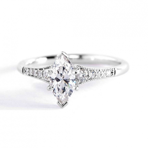 0.75 Ct SI1 E Marquise Cut Contemporary Milgrain Pave Engagement Rings 18K-White Gold